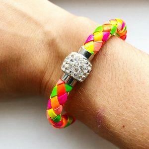 Colorful neon & diamond braided rope bracelet